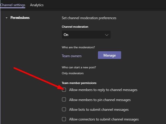 Permitir que los miembros respondan a los mensajes del canal