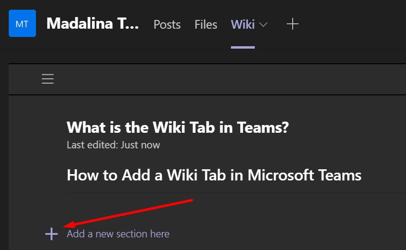 agregar nueva área de pestaña wiki