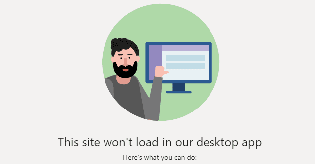 Equipos: este sitio no se cargará en su aplicación de escritorio