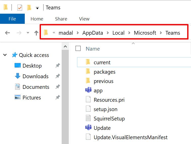 carpeta local del equipo de Microsoft