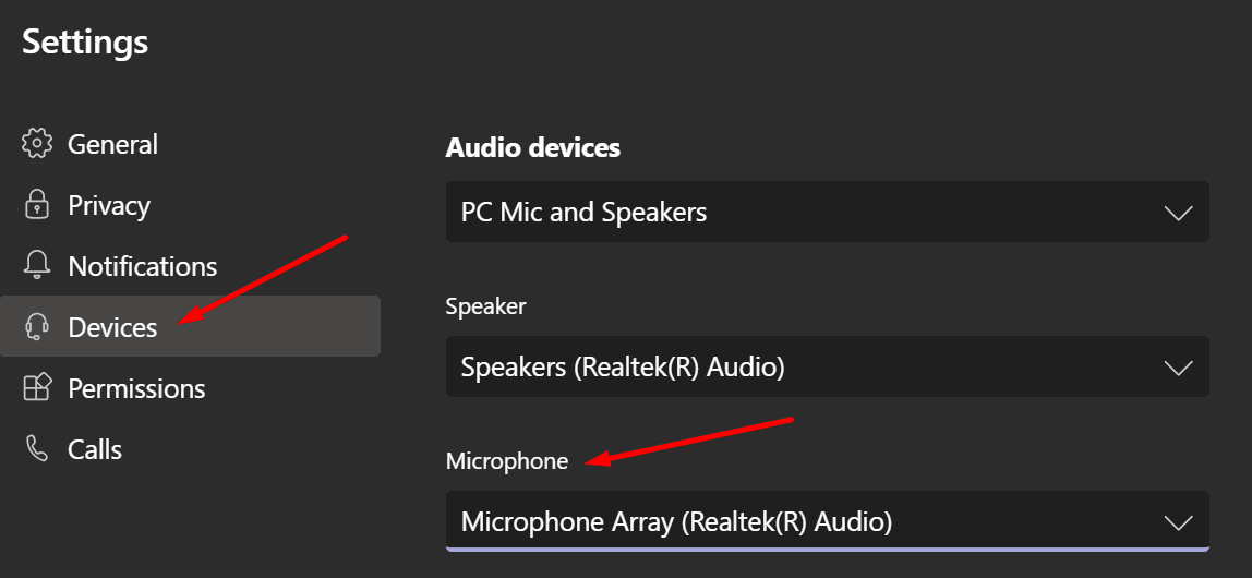 Configuración del micrófono de Microsoft Teams