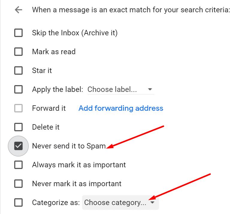 Crear filtro de correo electrónico de Gmail