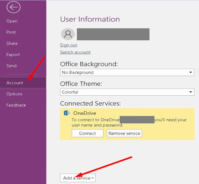 agregar un servicio conectado a onenote