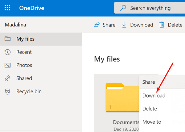 descargar documentos onedrive