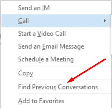 Skype Empresarial encuentra conversaciones anteriores