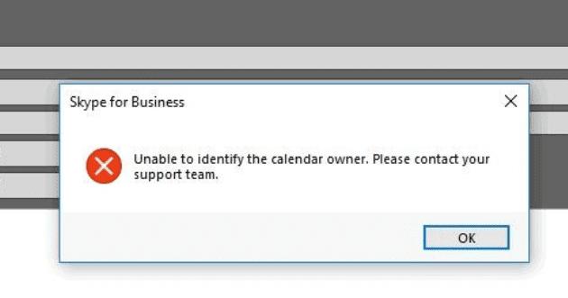 Error de Skype: no se puede identificar al propietario del calendario