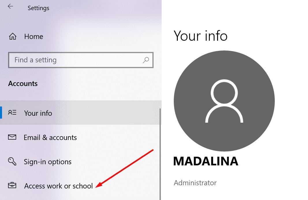 Acceso a la configuración de Windows 10 para cuenta profesional o educativa