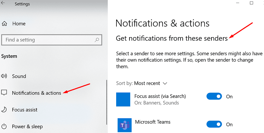 Windows 10 recibe notificaciones de estos remitentes