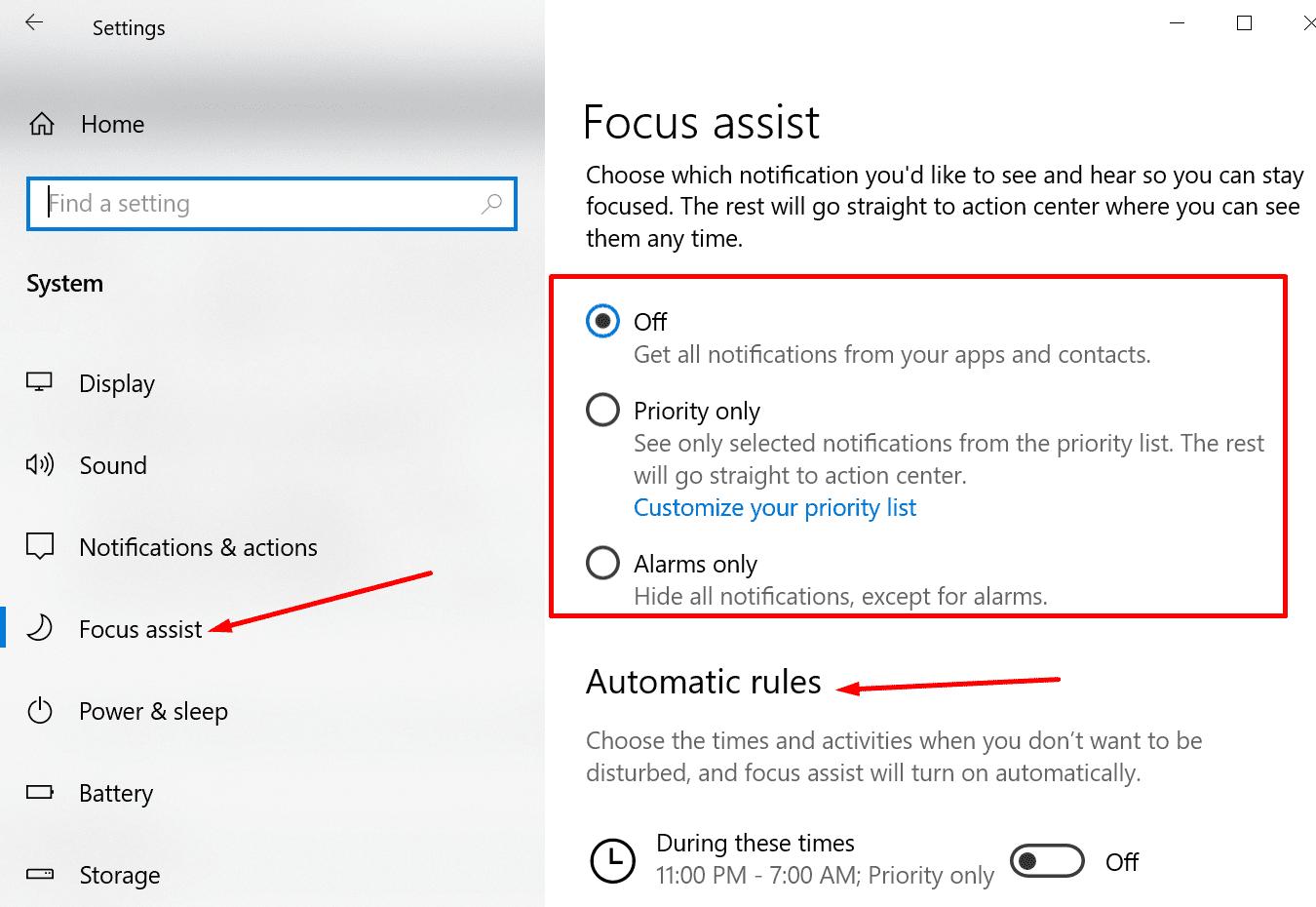 Configuración de soporte de enfoque de Windows 10