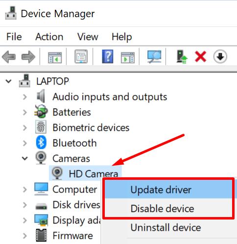Actualizar el controlador de la cámara de Windows 10