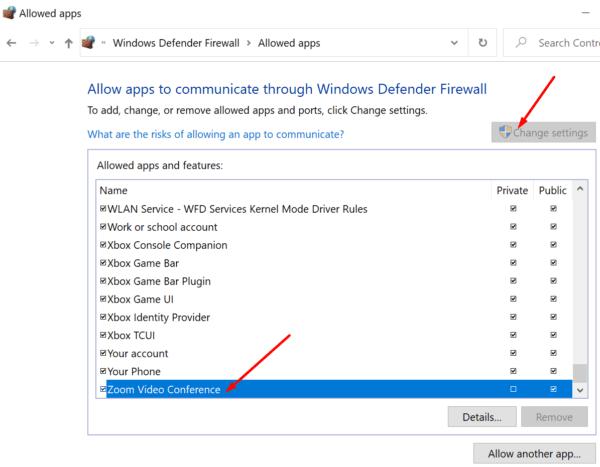 Firewall de Windows con zoom en la lista blanca