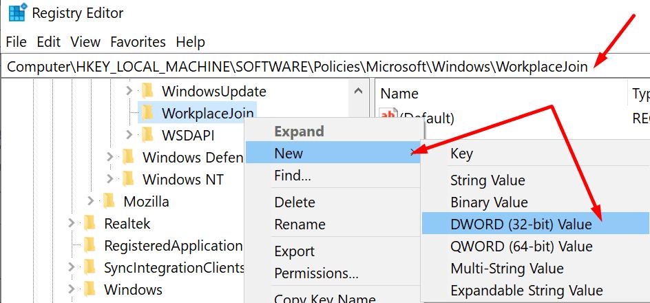 unirse al registro de windows de la estación de trabajo