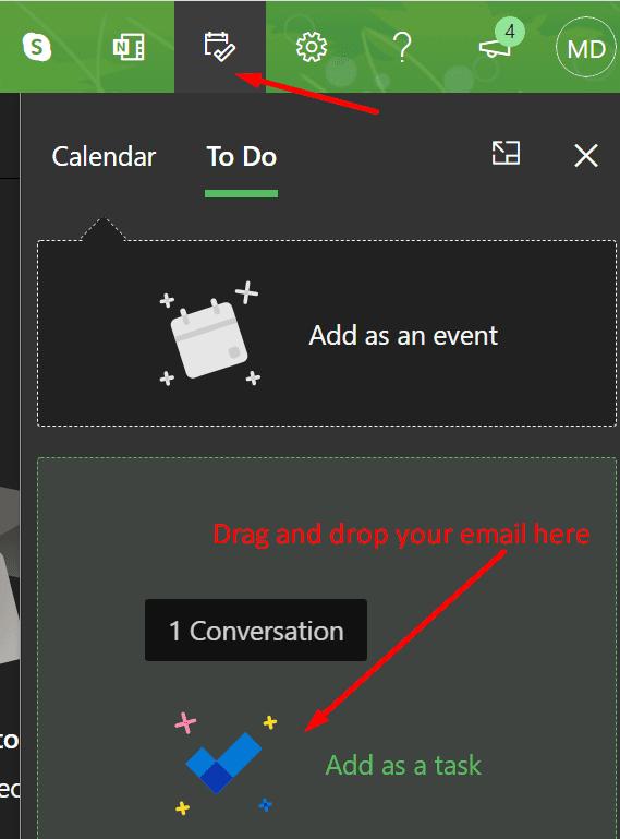 Agregar el correo electrónico de Outlook como tarea