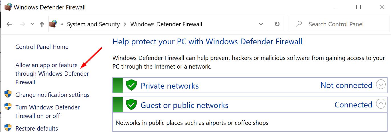 Permitir una aplicación o función a través del Firewall de Windows Defender