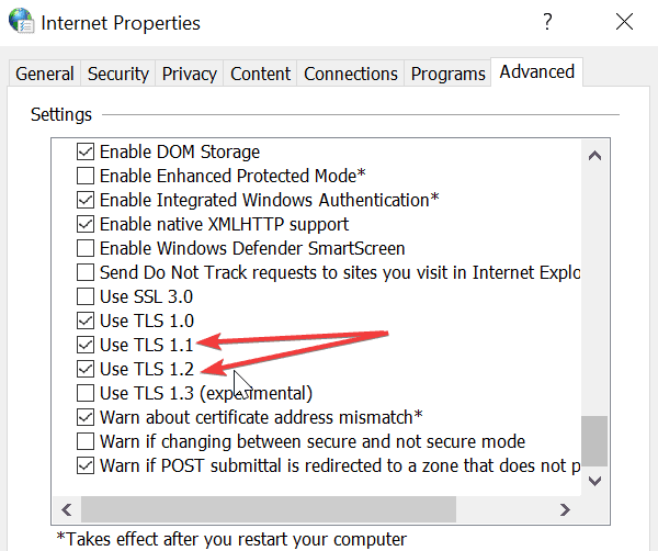 Opciones de Internet TLS