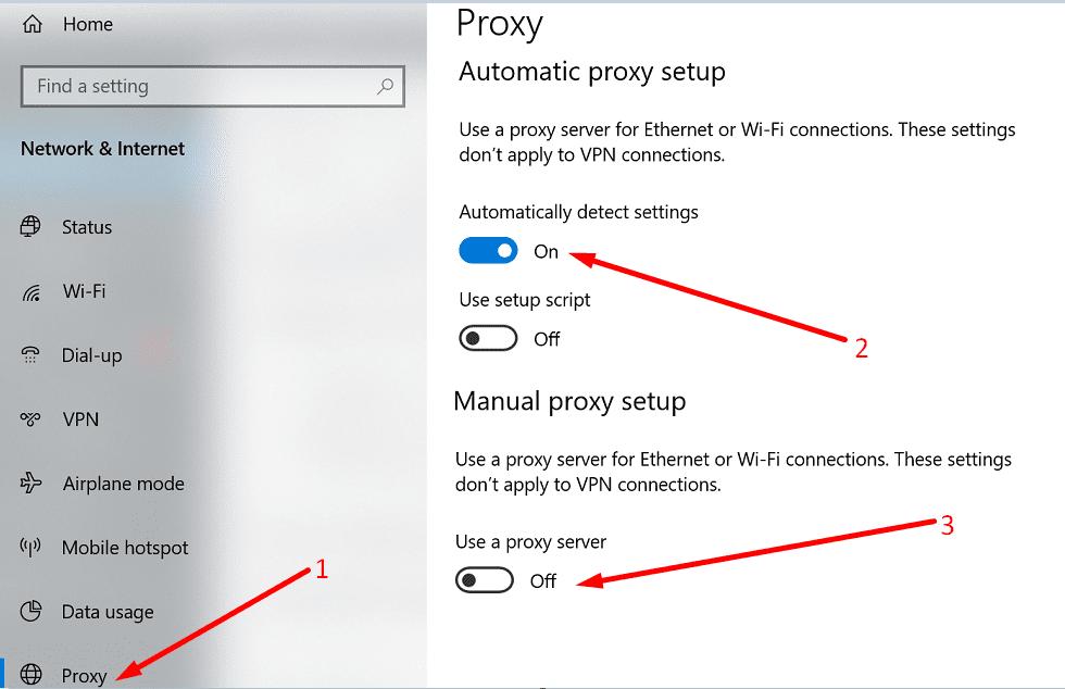 Configuración de proxy