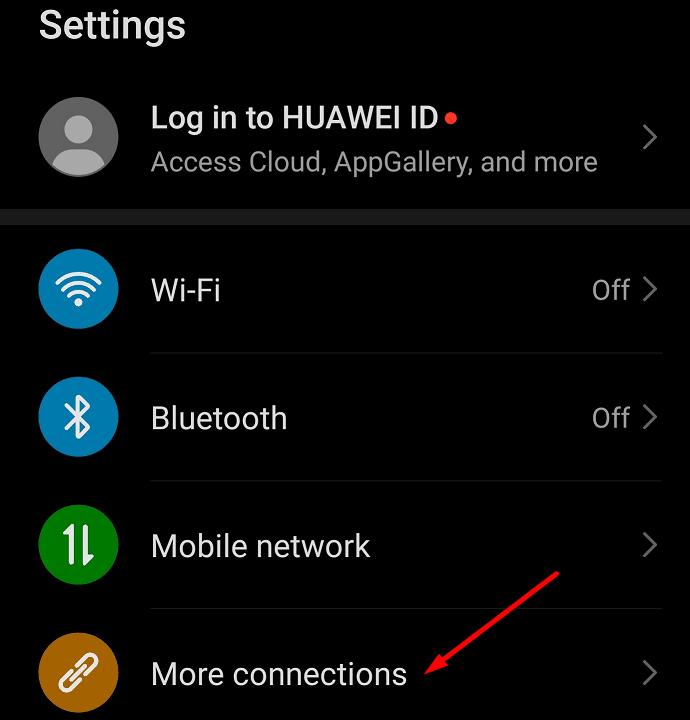 más conexiones configuración de android