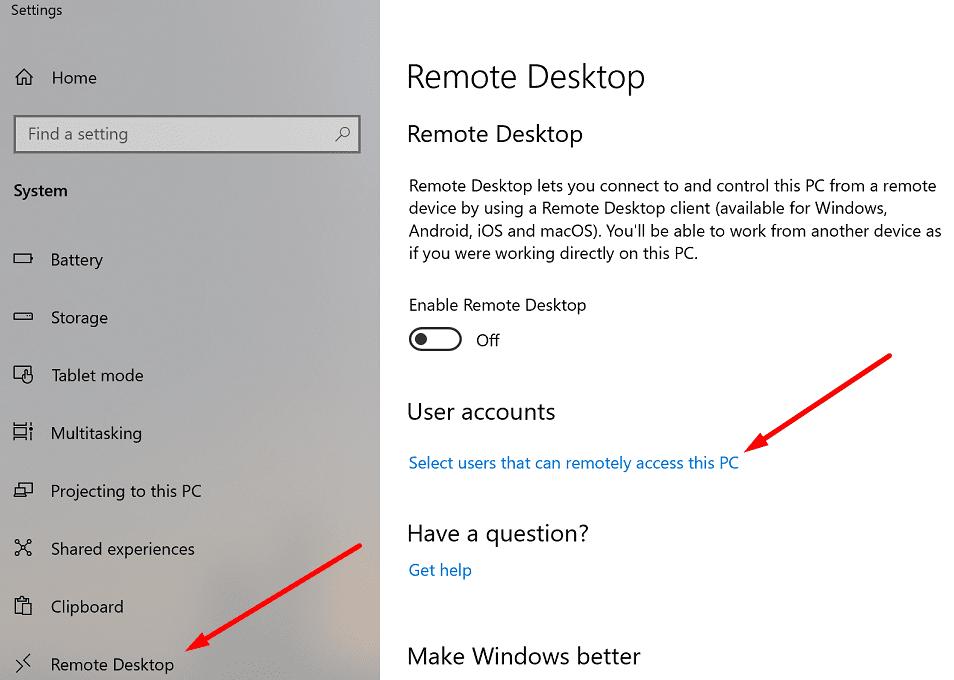 Seleccionar usuarios que pueden acceder a esta PC de forma remota