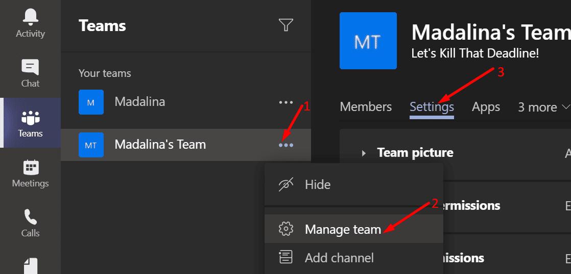 Editar la configuración del equipo Microsoft Teams