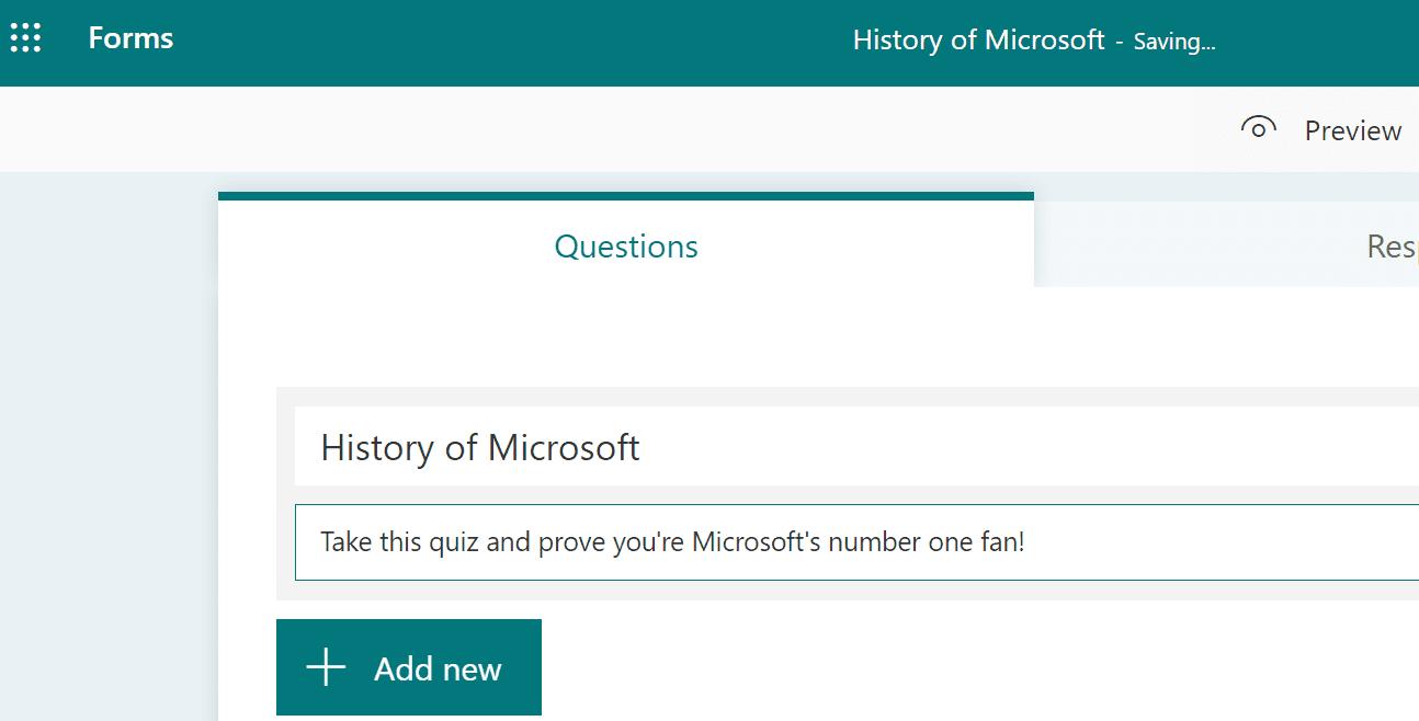 Cree Microsoft Forms rápidamente