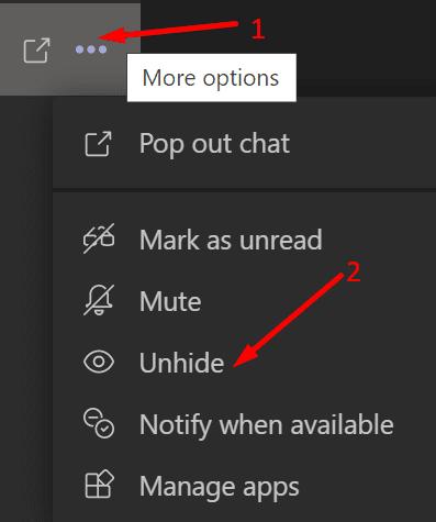 Muestre el chat de los equipos de Microsoft