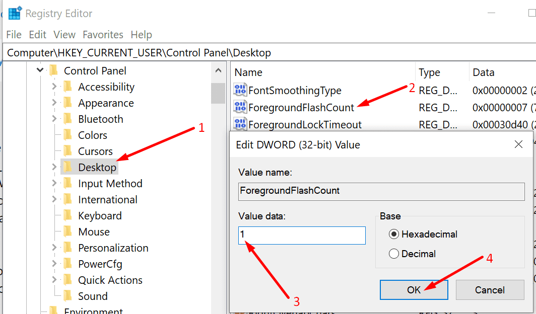 foreground flash count key windows 10