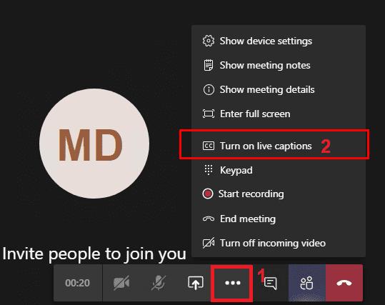 Los equipos de Microsoft habilitan subtítulos en vivo