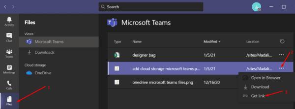 Obtener enlace de Microsoft Teams