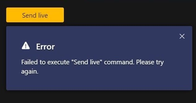 Teams Live: no se pudo ejecutar el comando Enviar en vivo