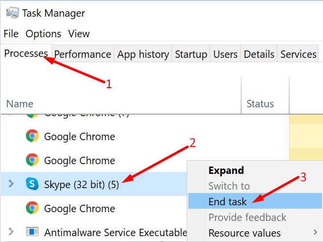 Finalizar tarea Administrador de tareas de Skype