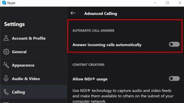 Skype desactiva la respuesta automática