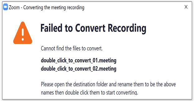 Corregir el error de zoom al convertir el error de grabación