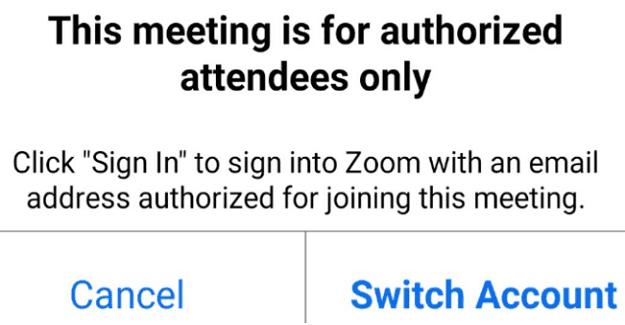 Zoom: esta reunión es solo para asistentes autorizados