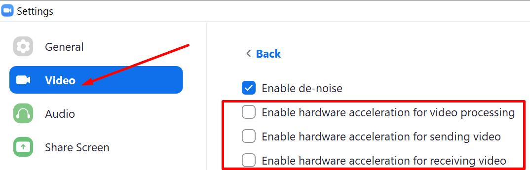 Desactivar la aceleración por hardware del zoom