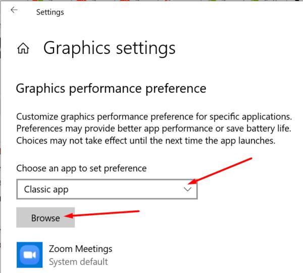 Ventana de preferencias de rendimiento de gráficos 10