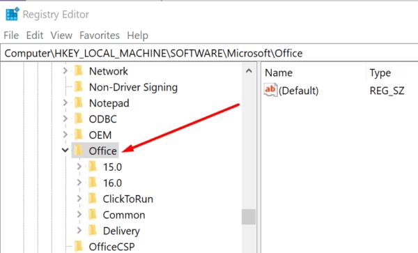 Editor del registro de Microsoft Office