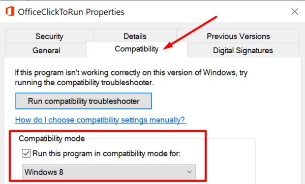 Ejecute el modo de compatibilidad con Office