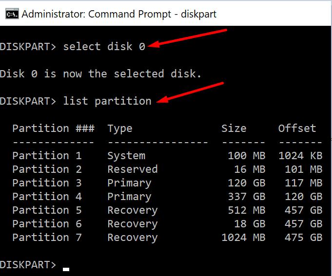 Símbolo del sistema para la lista de particiones del disco duro Windows 10