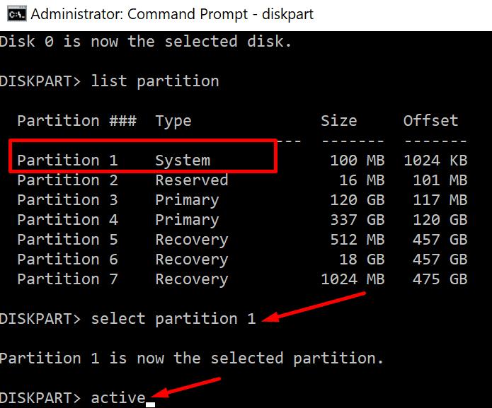 Activar la partición del sistema operativo Windows