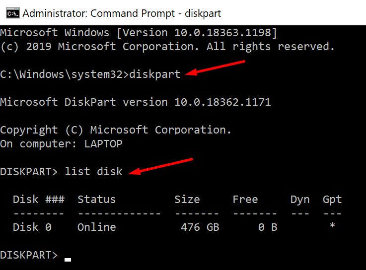 indicador de disco de lista de diskpart