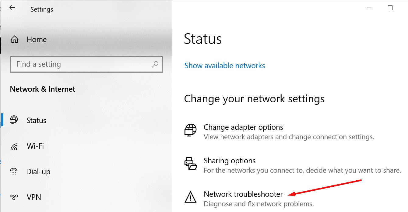 Ejecute el solucionador de problemas de red de Windows 10