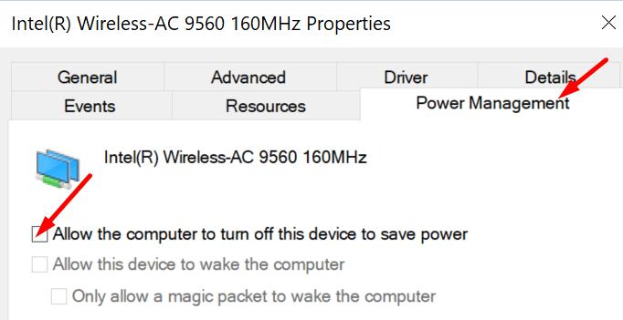 Deje que la computadora apague el adaptador inalámbrico para ahorrar energía