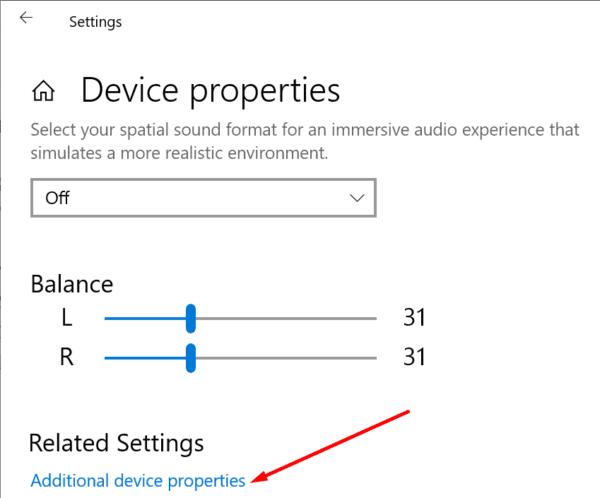 Propiedades adicionales del dispositivo Configuración de sonido de Windows 10