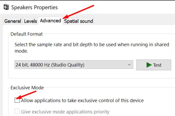 Permitir que las aplicaciones tomen el control exclusivo del dispositivo