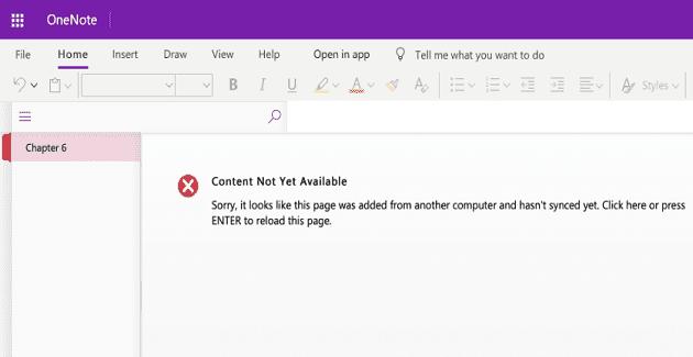 Cómo arreglar el contenido de OneNote que aún no está disponible