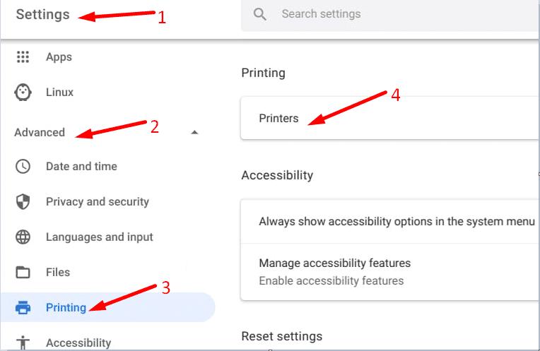 Impresoras avanzadas de configuración de ChromeOS