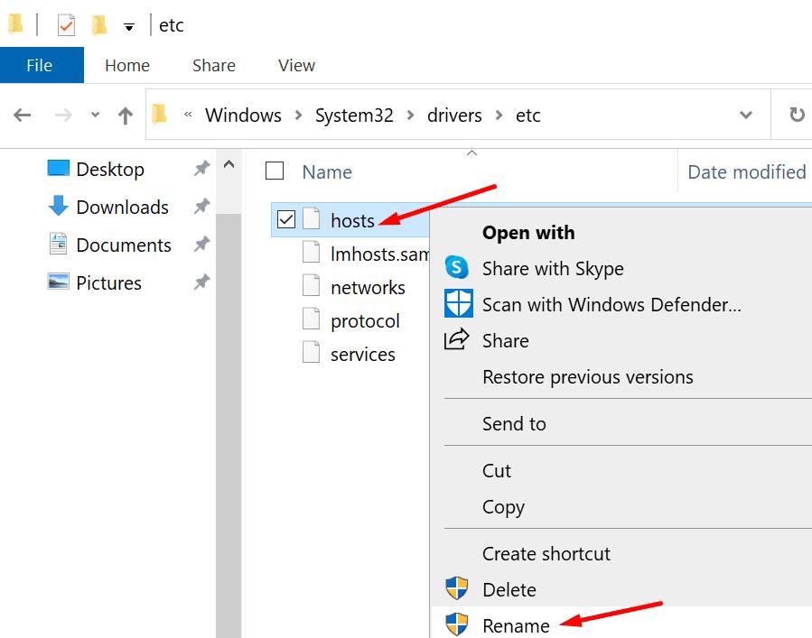 Cambiar el nombre del archivo de hosts de Windows 10