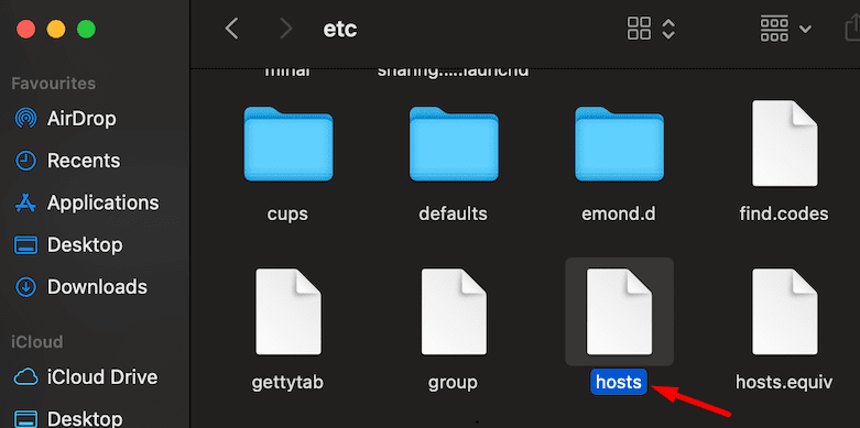Hosts archivo de la carpeta macOS, etc.