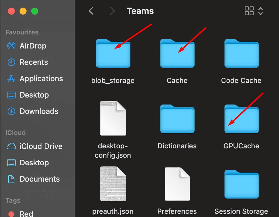 Microsoft Teams borra la caché de la aplicación macOS