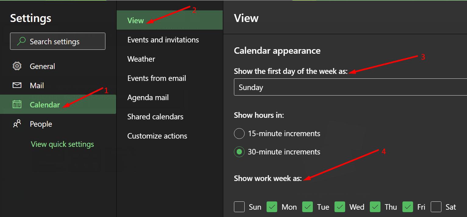 Cambiar la configuración del día de la semana de Outlook
